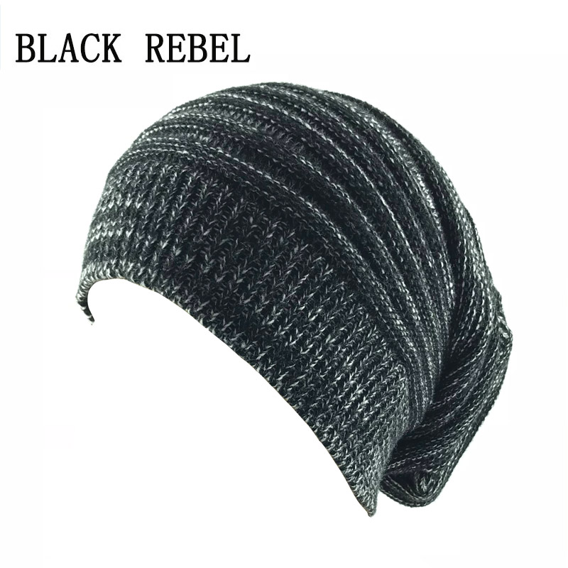 Aliexpress.com  Compre Black Rebel Winter Autumn Beanies Hat Unisex ROCK  label Warm Soft Knitting Cap Hats Touca Gorro Caps For Men Women de  confiança ... ede40867b2e