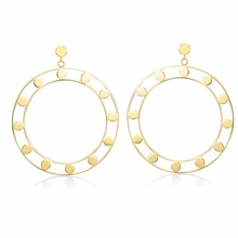 316L Stainless Steel  2018 Drop Earrings for Woman Big Circle  Hollow  Earring Titanium  Antiallergic Jewelry Accessories brinco