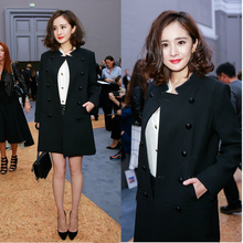 Cheap and Chic Celebrity Double Breasted Woolen Jacket Women Handsome Stand Collar Wool Jacket