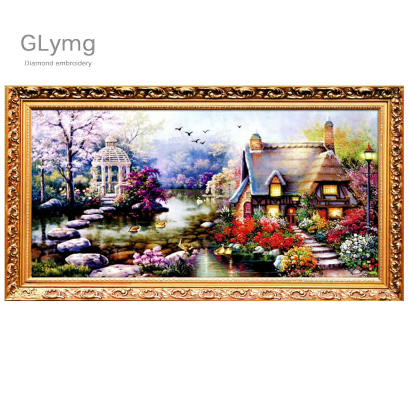 New DIY 5D Diamond mosaic Landscapes Garden lodge Painting Cross Stitch Kits Square Drill Diamonds Embroidery Home Decoration
