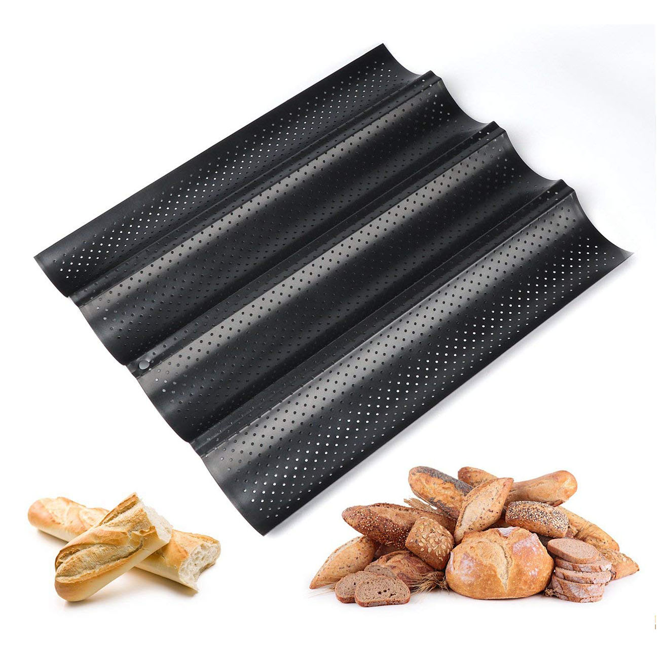 Baguette sheet baguette baking tray baguette mold with non-stick coating for baking, carbon steel