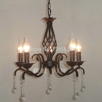 European Lamp Black Wrought Iron Candle Chandelier Light Fixtures Restaurants Bedroom Garden Art Special Offer Free