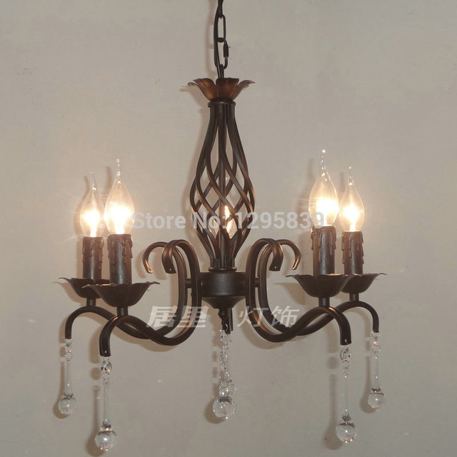 Multipla lampada Lampadario nero in ferro battuto candela lampadari ...