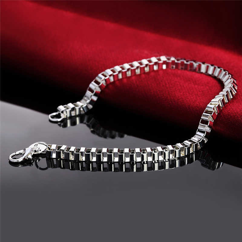 Pure 925 Silver Bracelets for Women Men 4mm Box Chain Bracelet & Bangles Wristband Pulseira Fashion Jewelry Gifts Bijoux