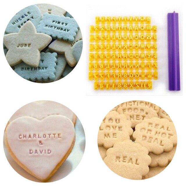 Bảng chữ cái Letter Số Cookie Press Stamp Embosser Cutter Fondant Khuôn Bánh Nướng Khuôn Mẫu Công Cụ