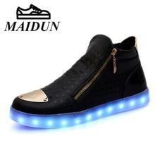 De alta Superior Zapatos de los hombres de Luz led Up Luminoso de neón Tamaño 36-44 Par de Carga USB Flash Hombres zapatos hombres led Nueva Caliente Ocasional moda