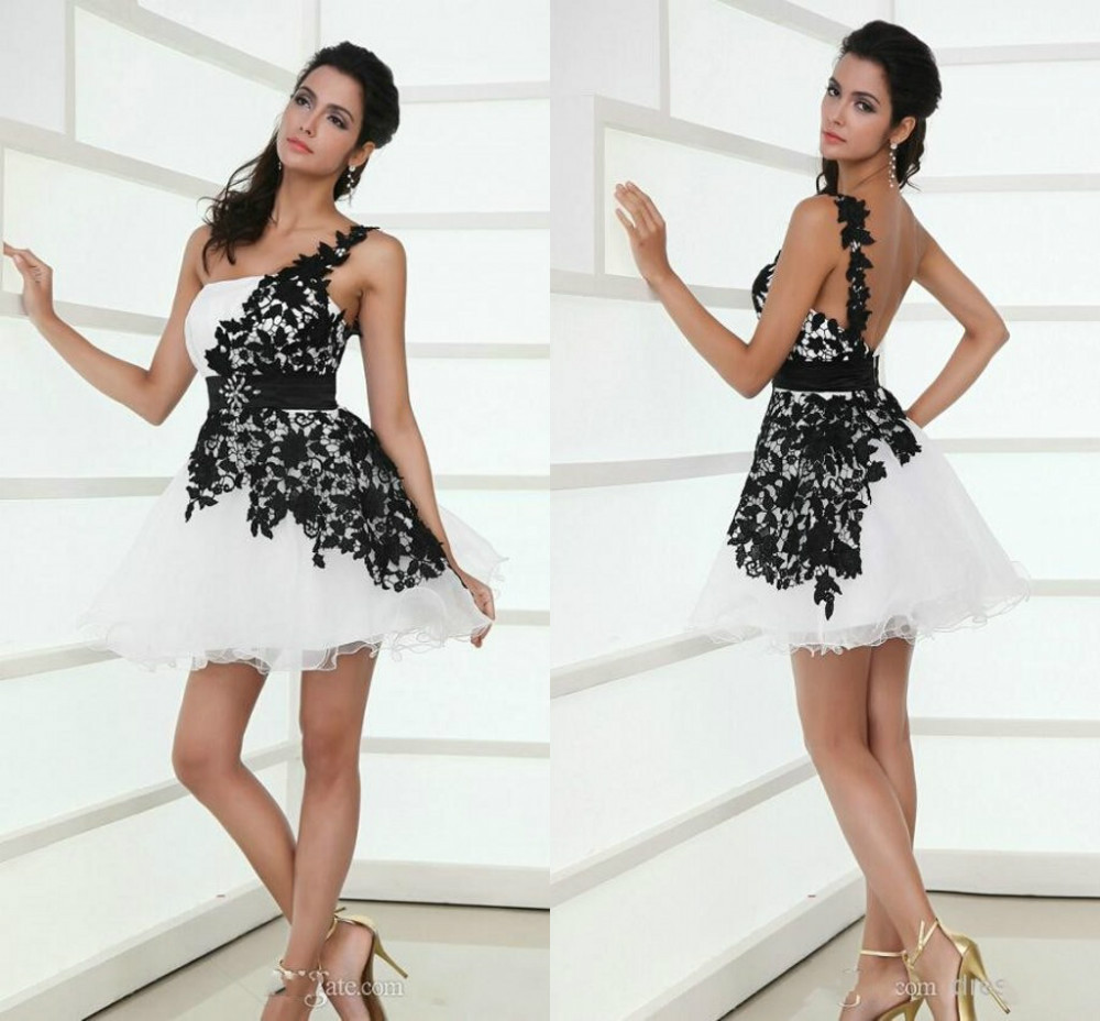 2014 Hot Selling Black and White Homecoming Dress Ball Gown Organza Lace One Shoulder Sleeveless Above Knee Prom Dresses