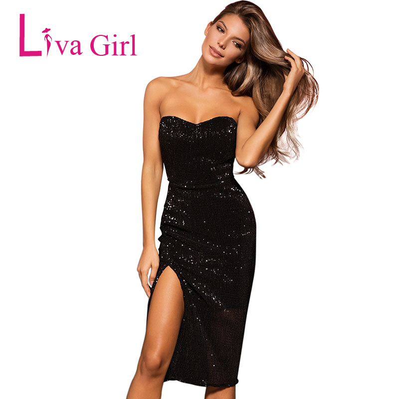 e7aaf781e9bb LIVA GIRL Black Sexy Sequined Bodycon Dress Women Summer Strapless ...