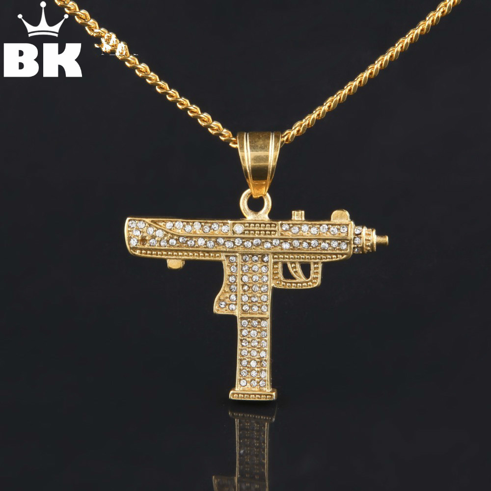 Hip Hop Gun Pendant Necklace For Men Women Gold Color Ice Out Rhinestone CSGO Charm Pendant Fine Quality Gold Cuban Chain
