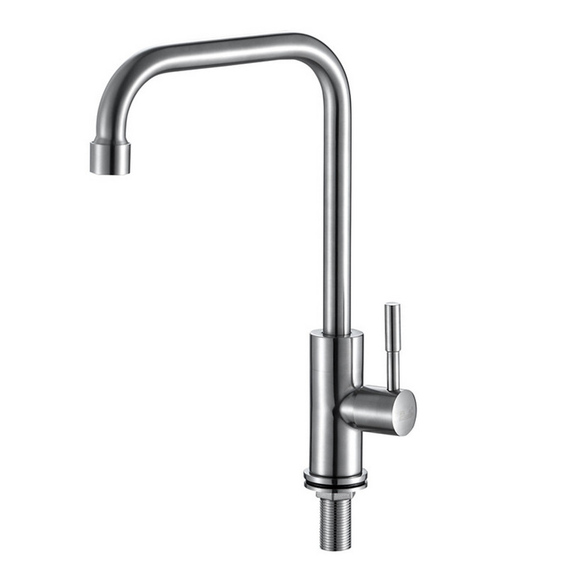 Free shipping SUS304 stainless steel kitchen faucet with single cold stainless steel kitchen sink faucet by
