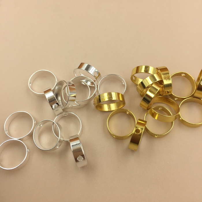 SEA MEW 50PCS Metal Copper Rhodium Gold Round Perforated Circle Connectors DIY Earrings Accessories 10mm 14mm 18mm 22mm 26mm