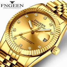 FNGEEN Men's Watch Clock Men Business Quartz Steel Wrist Watches Waterproof Mens Watches Simple Luminous Pointer Couple Watch цена и фото