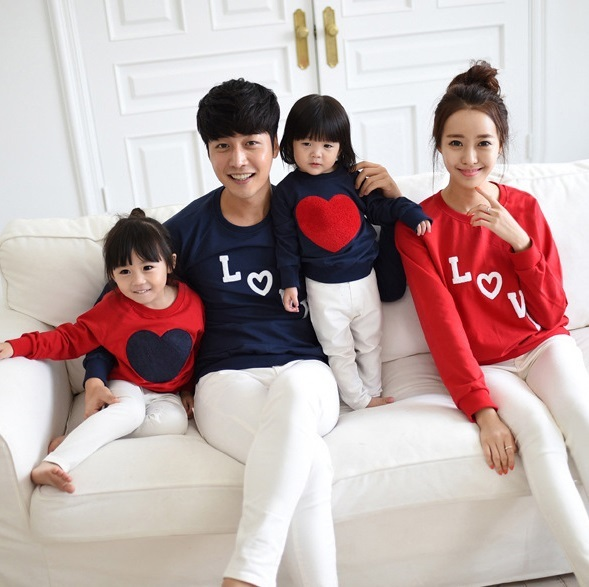 Heart Sweatershirts Family Set Clothes for Mother and Daughter Father and Boy Lovers T-shirt Family Matching Clothes Red 3XL HP