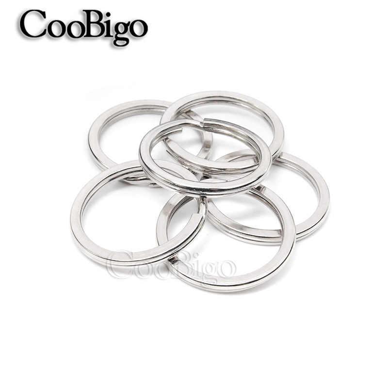 5 pcs 6 Tamanhos 20mm ~ 35mm Diâmetro Exterior Plana Chave Anéis Chaveiro Dividir O-Anéis brinquedos Saco De Acessórios Peças de Jóias de prata