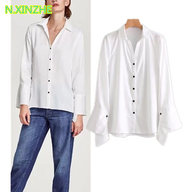 90d208f462 US $14.62 37% OFF|2018 women clothing long sleeve lapel poplin shirt solid  Tops Female high street casual loose white blouses C2352-in Blouses & ...