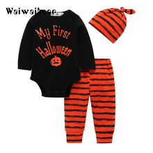 Newborn Baby Halloween Sets Baby Clothes Letter Rompers +Pumpkin Pants+Hat Infant 3pcs Suit Baby Clothing For Boys And Girls baby boys pilot police clothes sets infant newborn halloween cosplay costume for boys summer short sleeves top pants with hat