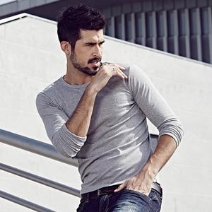 Image 5 - KUEGOU 2019 Autumn Cotton Plain White T Shirt Men Tshirt Brand T shirt Long Sleeve Tee Shirt Fashion Clothes Top Plus Size 801