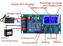 Tzt dc 6 60v 30A蓄電池充電制御モジュール保護板充電時間スイッチlcdディスプレイXY L30A