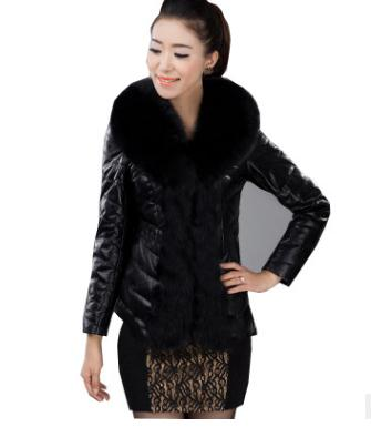 Female Winter Autumn Short Secion Pu Leather Jacket Patchwork Fake Fur Coats Large Size Black Mens Fake Fur Jackets S/6Xl K802