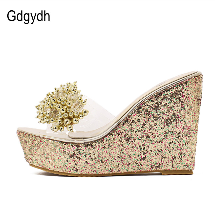 Image 2 - Gdgydh Rhinestone Wedges Sandals Women 2019 Summer Sexy Trifle Slides Casual Beading Open Toe Female Sandals Platform Shoes-in High Heels from Shoes
