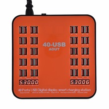 UK Plug 40 Ports 200W 40A LCD font b Digital b font Display USB Charger Smart