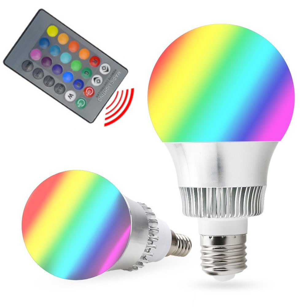 RGB E27 E14 5W/10W AC85-265V LED Bulb Lamp with Remote Control Multiple Colour LED Lighting Free Shipping rgb 10w led bulb e27 e14 ac85 265v led lamp with remote control led lighting multiple colour