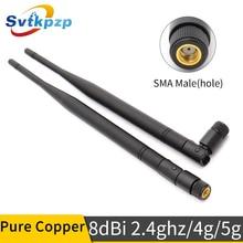 8dBi RP SMA الذكور موصل 2.4ghz هوائي مكاسب عالية طويلة المدى 2.4G 4G 5G هوائيات العالمي واي فاي antenne طويلة الجوي