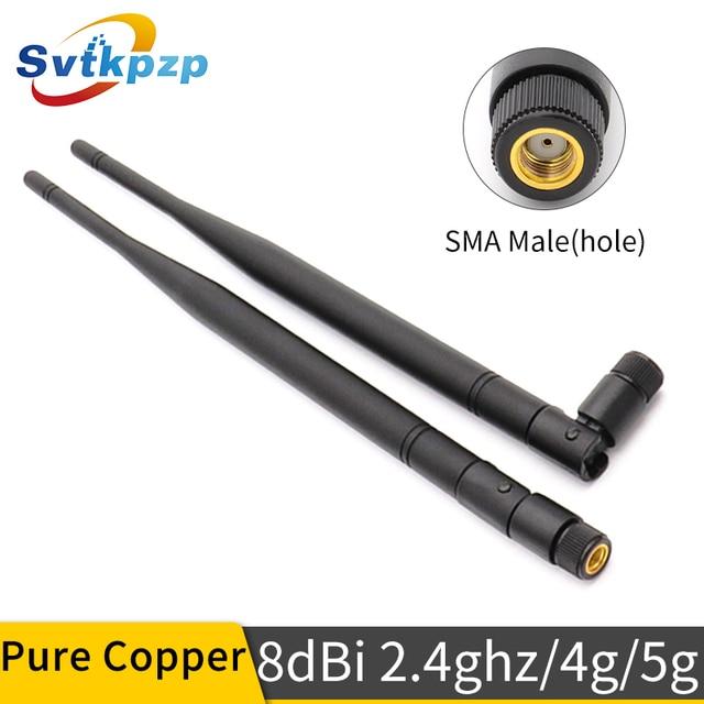 8dBi RP SMA Erkek Konnektör 2.4ghz Anten Yüksek Kazanç Uzun Menzilli 2.4G 4G 5G Antenler Evrensel WIFI antenne Uzun Hava