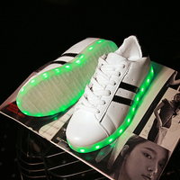 New 2017 Children Shoes Youth LED Sneakers 7 Colorful With USB Rechargeable Boys Light Shoes Girls Fluorescent Luminous Shoes