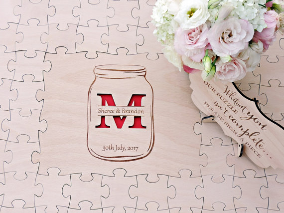 Mason Jar Wedding Guest Book Puzzle, Wood Puzzle Guest Book, Mason Jar Guest Book Puzzle ...