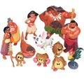 Moana Action Figures Toys 12Pcs/Set Heihei Tamatoa Chief Tui Sina Tala Gift Doll Plastic Anime Action Figures Anime Toys Gift