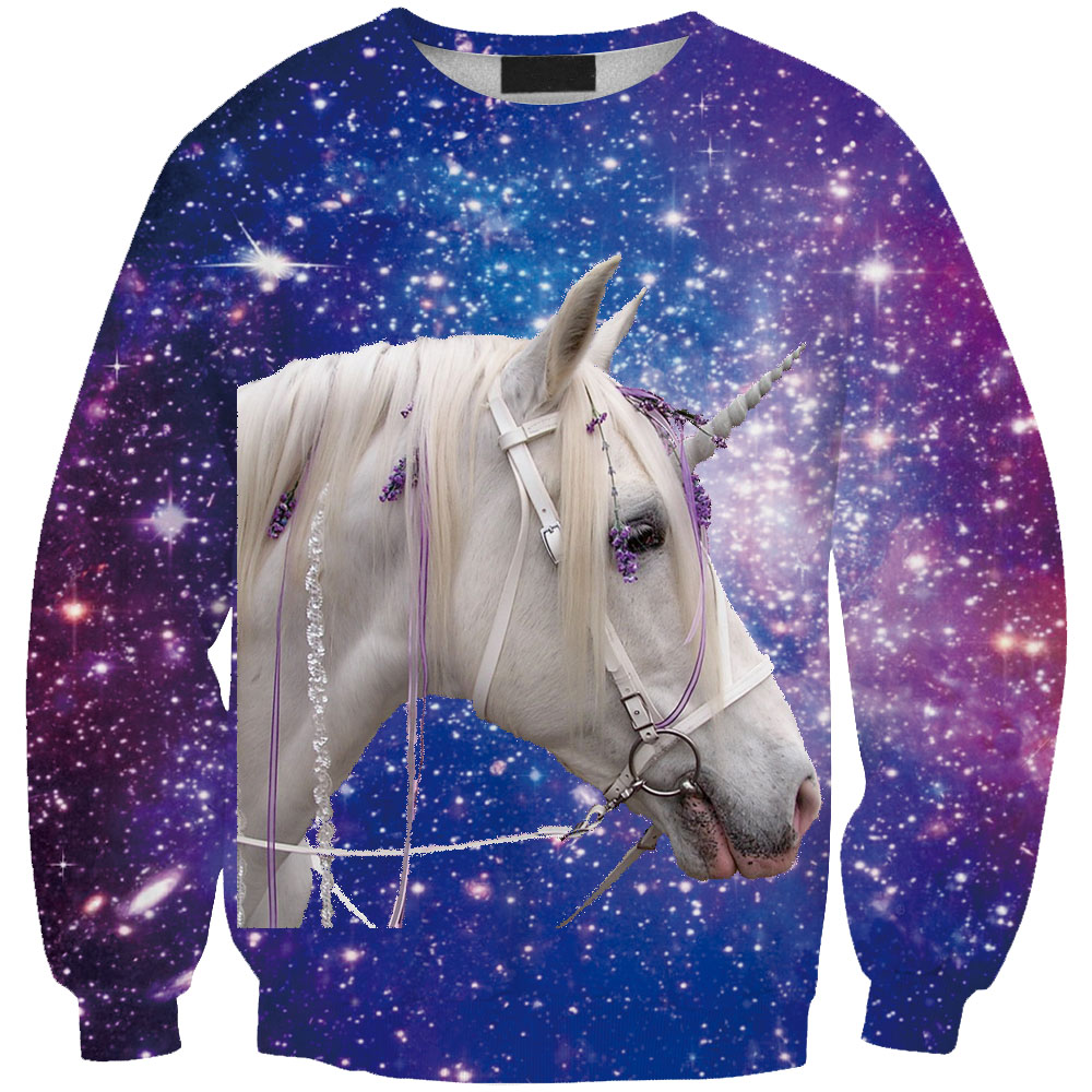 Women summer 3D Digital cartoon Sweatershirt fire horse print Long sleeve Unisex Outwear fitness clothes