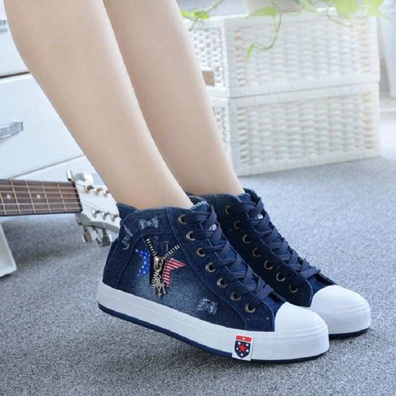 Femmes Chaussures Nouvelle 2018 Printemps Toile Sneakers Femmes Casual Chaussures à Lacets Mode Denim Chaussures Plate-Forme Appartements High top étudiant Chaussures