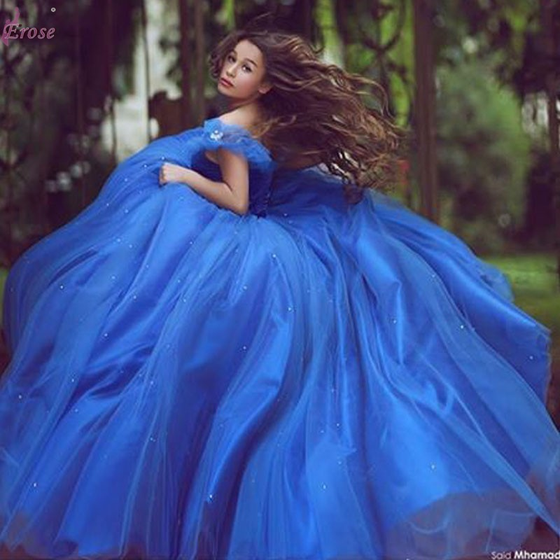 7d6ada30661 Royal Blue Wedding Dress Sweetheart Ball Gown Cinderellar Princesa