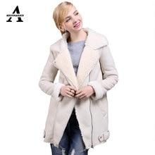 UUV Brand Long Sheepskin Beige Suede Cloak Winter Jacket Women Lapel Thick Warm Women s Coats