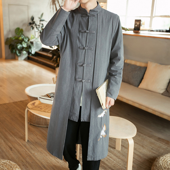Free shipping Linen men big Linen Trench Chinese style fat guy plus size men's Casual long-sleeve coat x-long turn-down collar