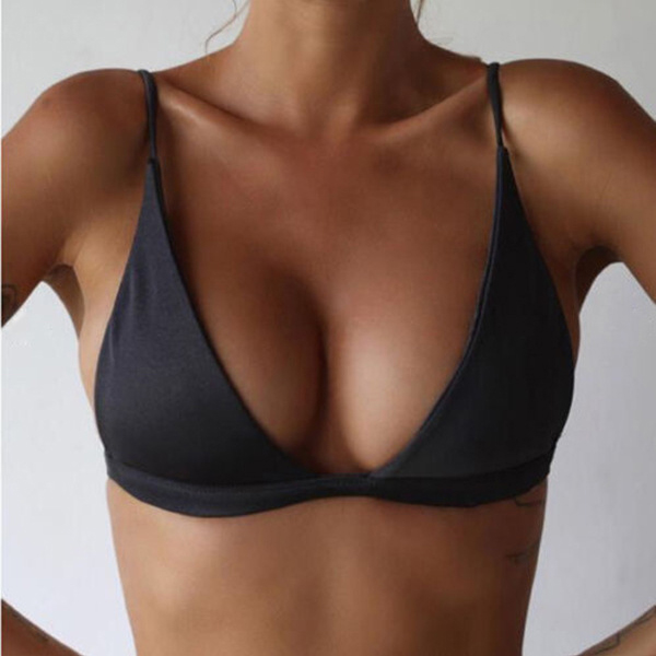 Women Summer Solid Bikini Tops Deep V Neck Backless Skinny Wire-Free Bra YS-BUY