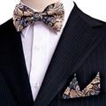 Paisley Floral Azul Marino Caqui Amarillo Tuxedo pre-atado Mens Pocket Square 100% Seda Pajarita Ajustable Set Al Por Mayor partido