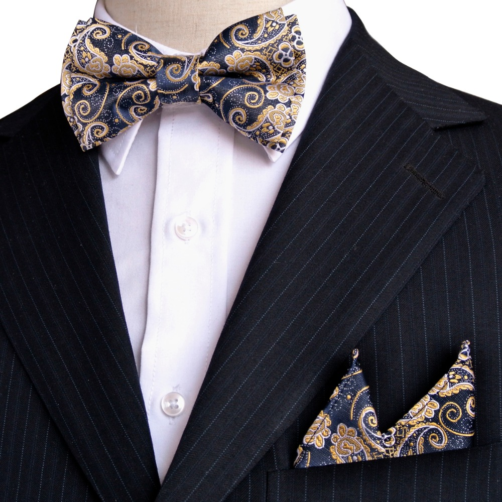 Floral Navy Yellow Bow Tie