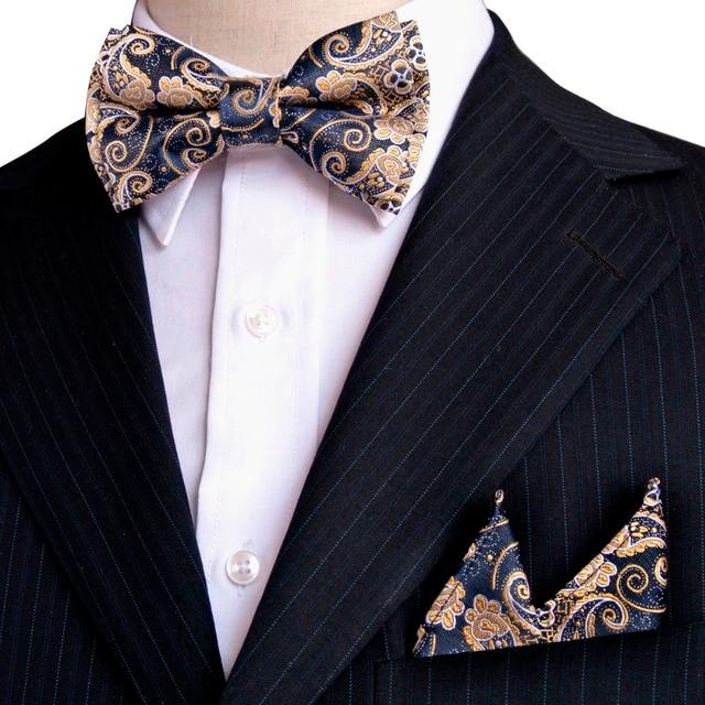 f6c45cfcba94 Paisley Floral Navy Blue Yellow Khaki Gold Tuxedo Pre-tied Mens Bow Tie  Pocket Square 100% Silk Set Adjustable Wholesale Party
