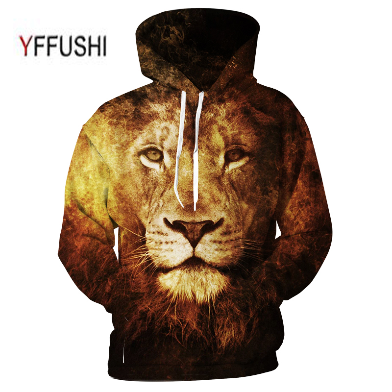 YFFUSHI 2018 Lion Printed Hoodies 3D Men Women Hooded Pullover Sweatshirts Casual Pocket Outwear Novelty Coat Plus Size 5XL