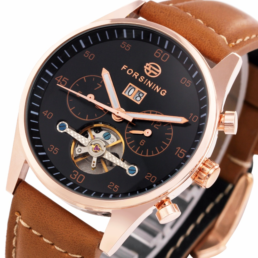 2017 FORSINING Men Automatic Mechanical Watch Luminous Hands Tourbillon Wristwatch Genuine Leather Strap Calendar Date Sub-dial forsining a165 men tourbillon automatic mechanical watch leather strap date week month year display