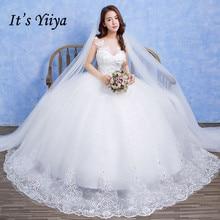It's Yiiya Vestidos De Novia Lace White O-neck Princess Wedding Dresses Transparent Sleeveless Bridal Frocks Custom Made D208