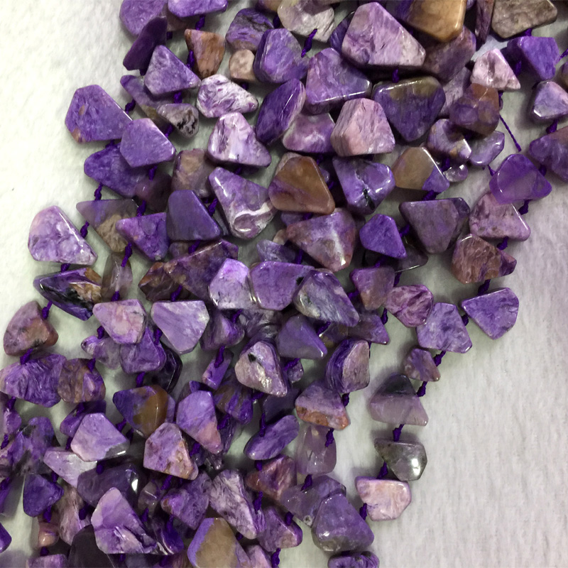 Natural Genuine Raw Mineral Purple Charoite Flat Teardrop Nugget Side Drilled Loose Beads 15 05541