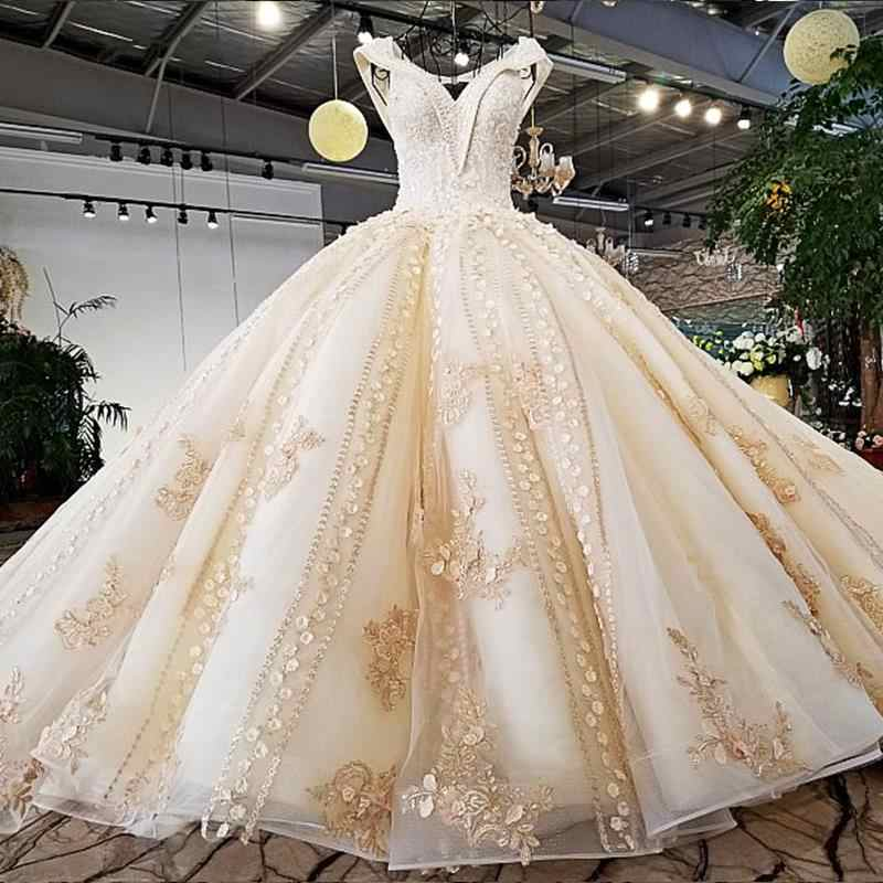 Luxury Champagne Ball Gown Wedding Dress Flowers Beading Wedding Gown off Shoulder V Neck Open Key Hole Back vestido de noiva