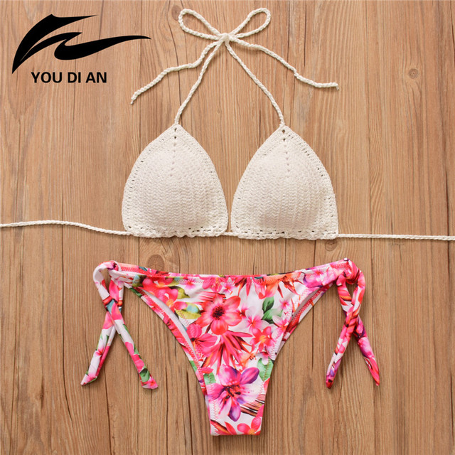 2018 New Sexy Bikini Thong Low Waist Swimwear Women Print Crochet
