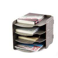 DIY Office Curved Design Wood Stationery Holder 4 Layer A4 File Organizer Book Stand Magzine Holder Wooden Desktop File Tray