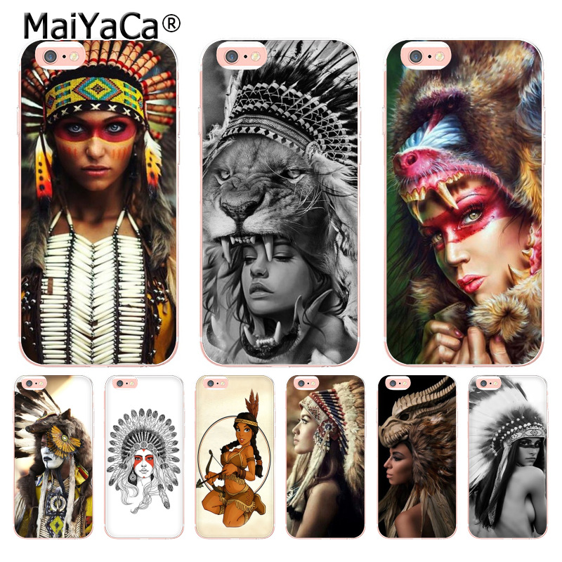sports shoes 82e3c 2727a MaiYaCa Indian feathers native american girl Luxury fashion cell phone case  for iPhone 8 7 6 6S Plus X 10 55S SE X XS XR XS MAX