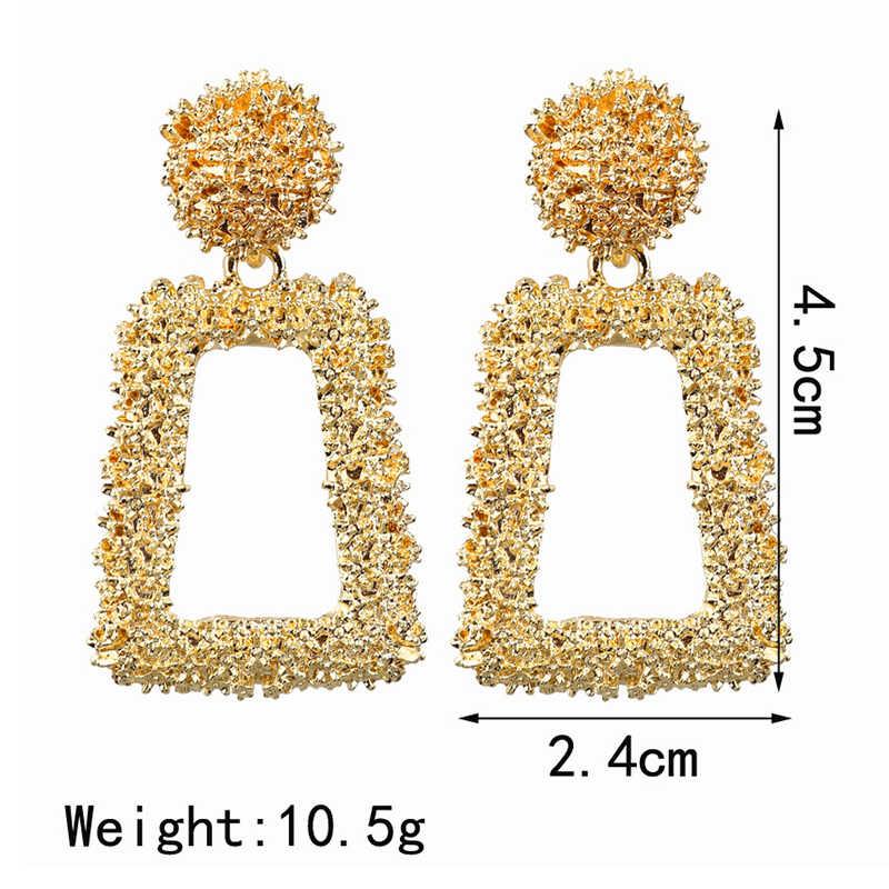 ビッグヴィンテージイヤリング女性のためのゴールドカラー幾何文のイヤリング 2019 メタル出穂ぶら下げファッションジュエリートレンド
