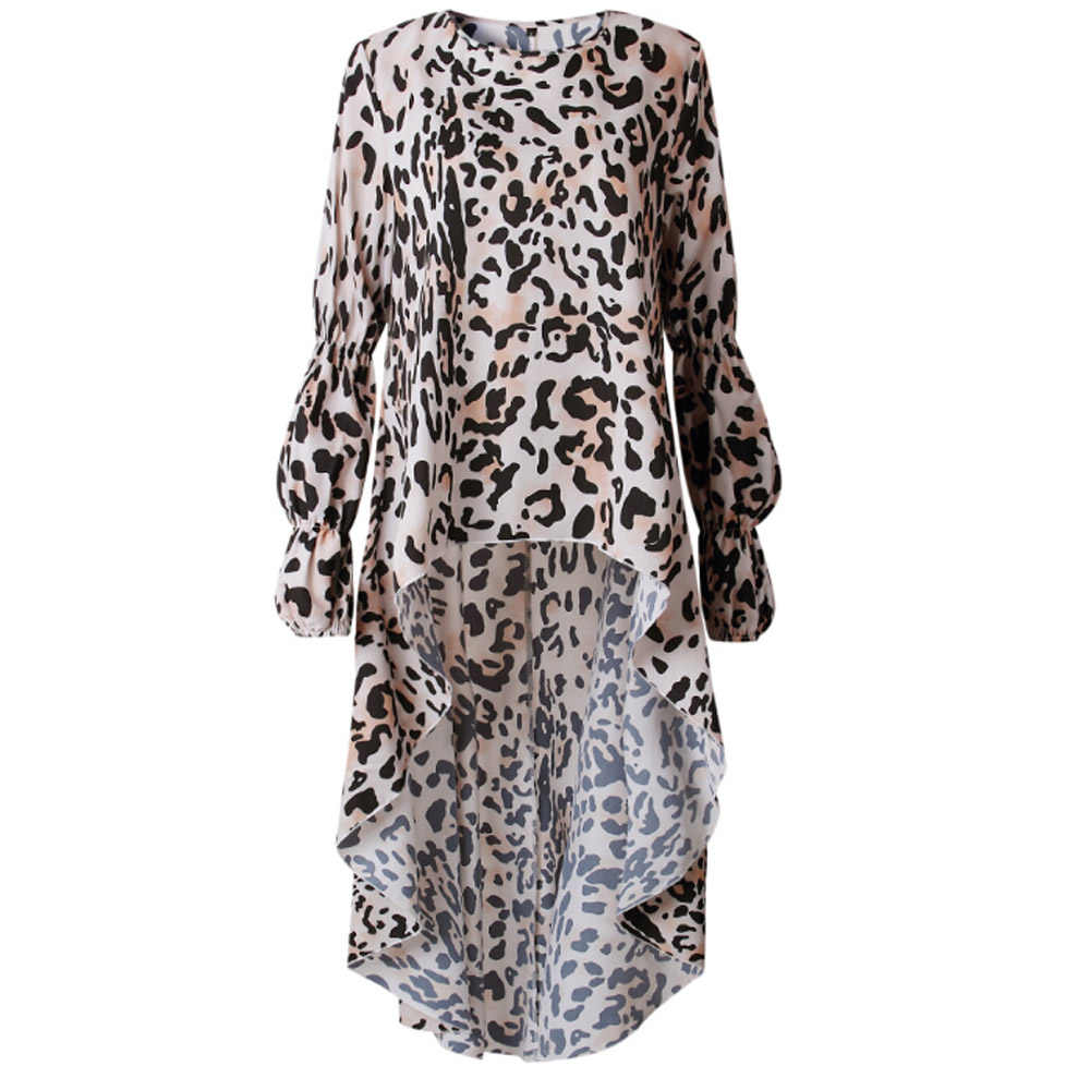 Sexy Leopard Print Blouse Chiffon Tops for Women Long Sleeve Animal Print Shirt Elegant Casual Party Office Ladies Tunic Blouses